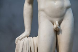 small greek statue with small phallus